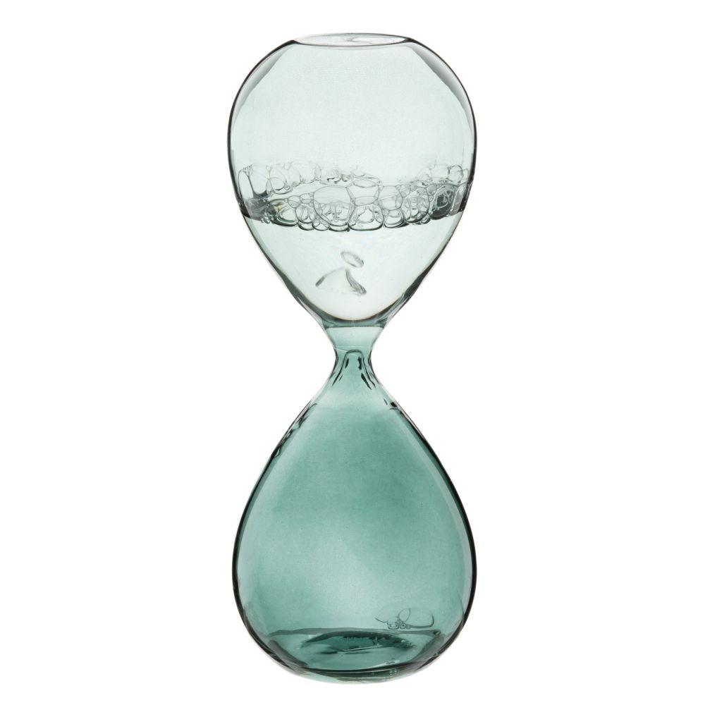 Sablier en verre teinté vert (photo)