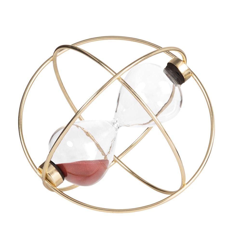 Sablier violet prune en verre sur base en métal doré (photo)