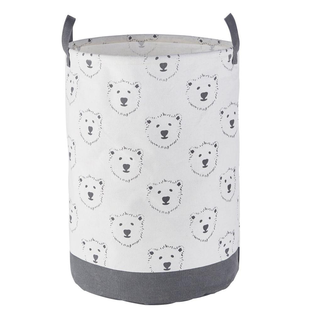 Sac de rangement bébé blanc et gris motifs ours
