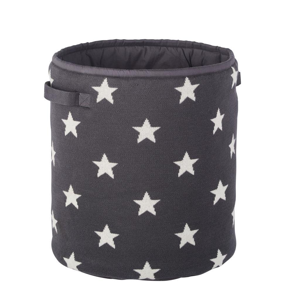 Sac de rangement enfant en coton noir motifs étoiles blanches