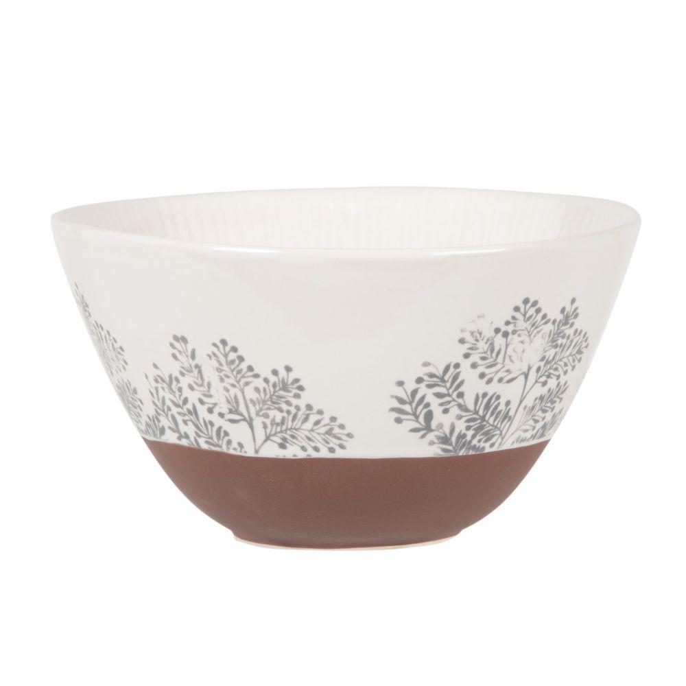 Saladier en grès blanc et terracotta motif végétal