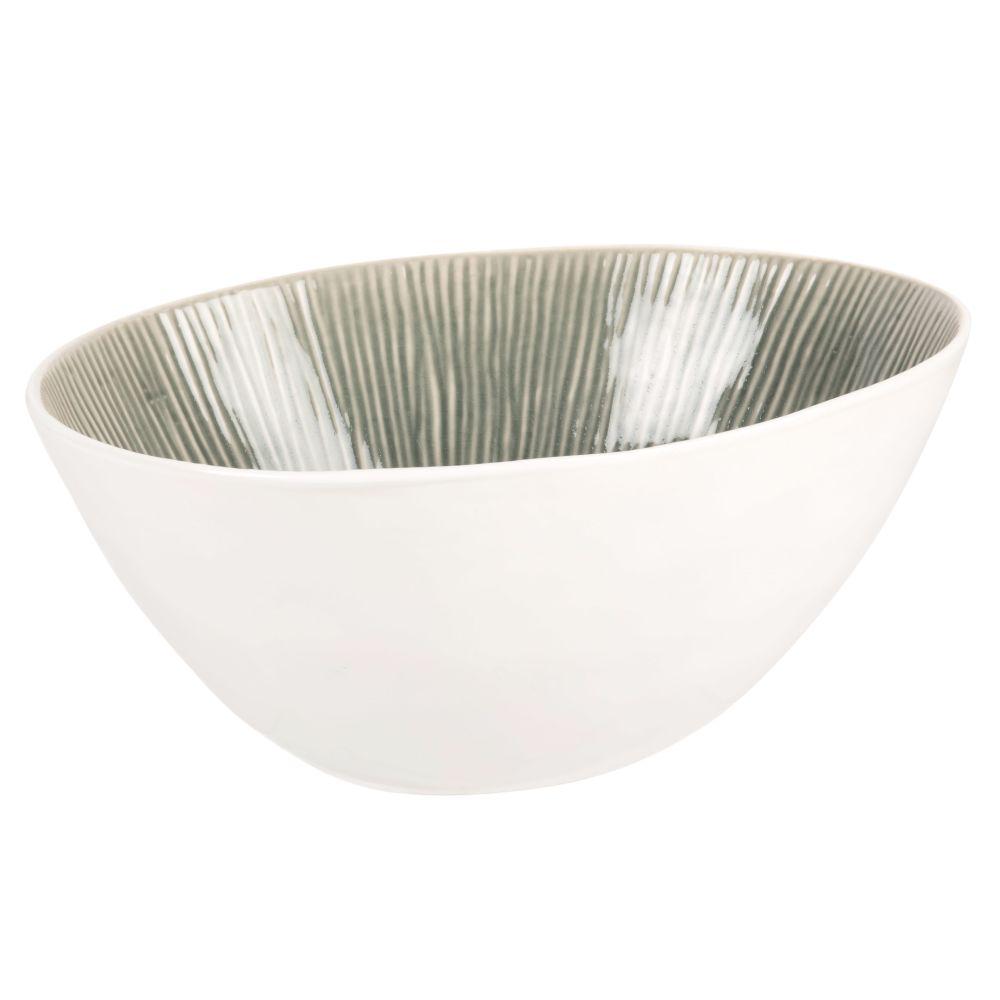 Saladier en grès blanc et vert de gris