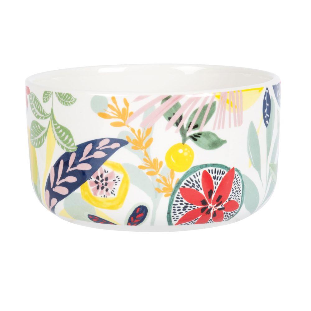 Saladier en porcelaine blanche imprimé fruits multicolores