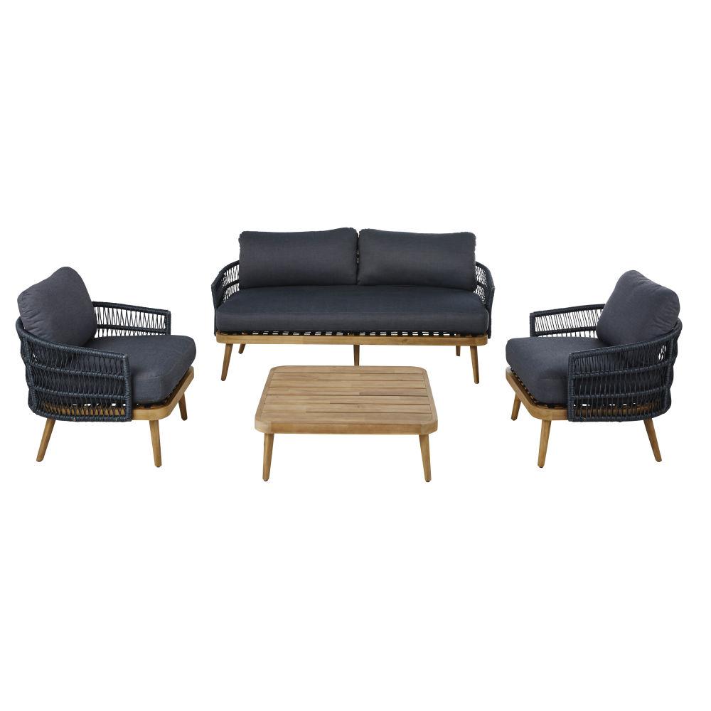 Salon de jardin 2/3 places en résine tressée gris anthracite et acacia massif imitation teck