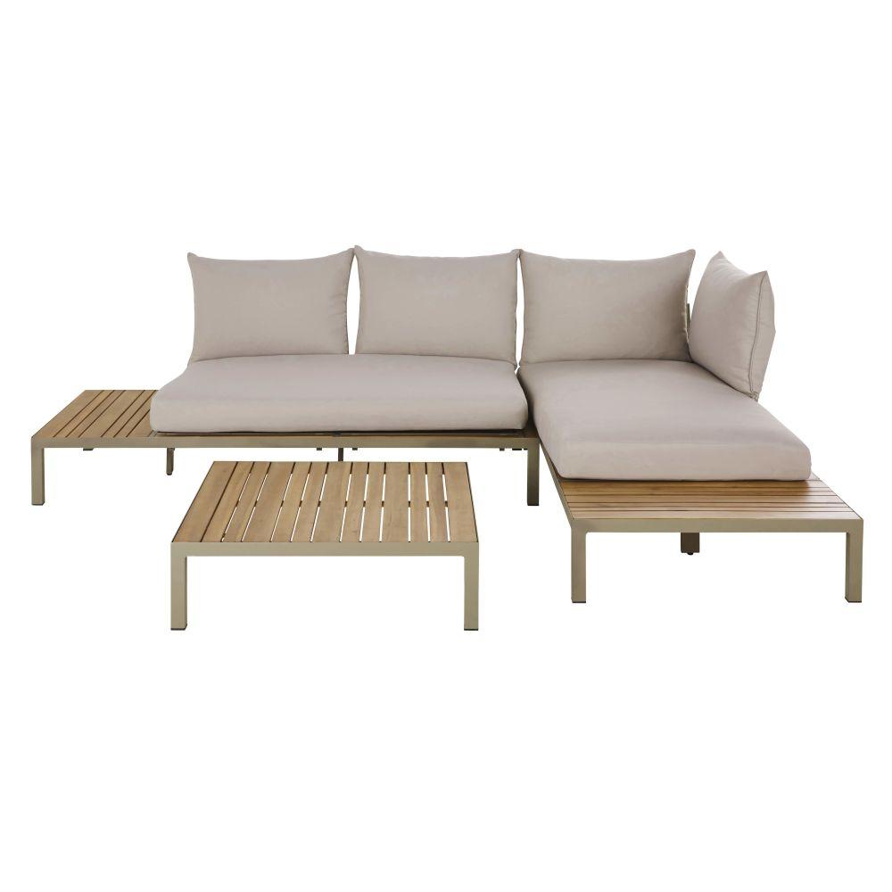 Salon modulable de jardin 4/6 places en acacia massif coloris imitation teck, aluminium vert kaki et coussins gris