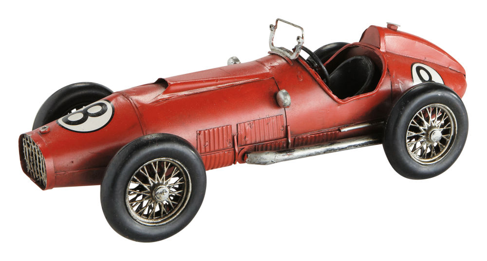 Satuette voiture en métal rouge L32