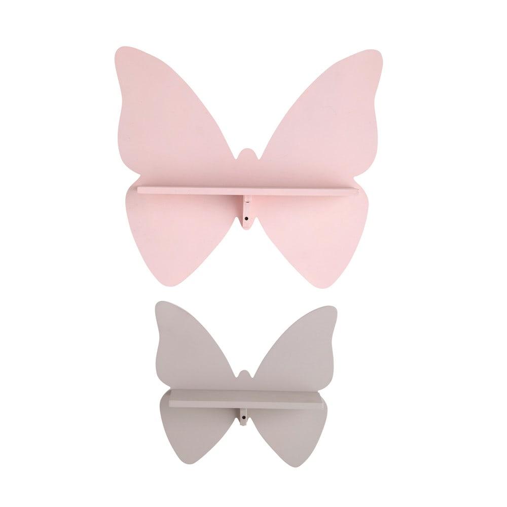 Scaffali da parete a farfalla rosa e talpa (x2)