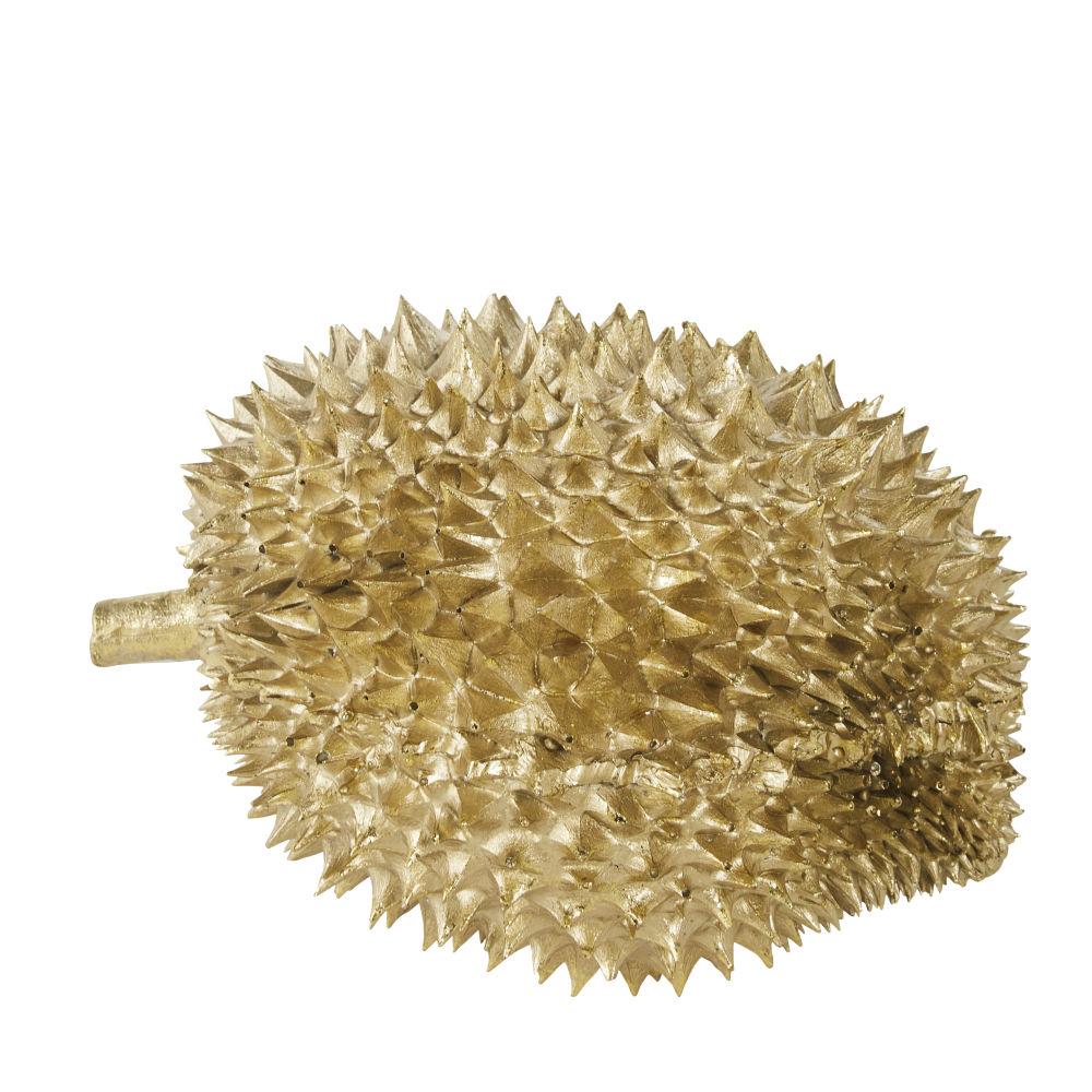 Sculpture fruit durian doré 25x16