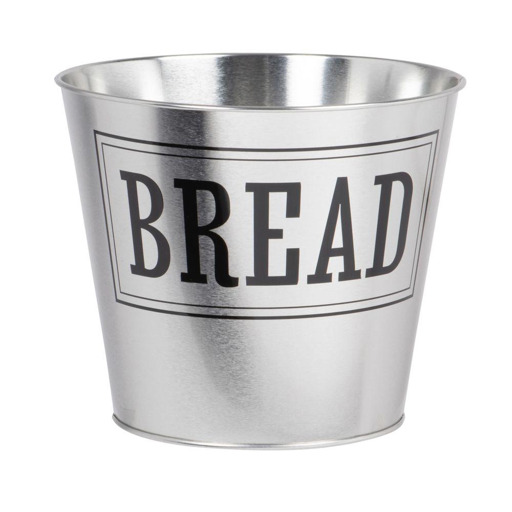 Seau à pain en métal argenté avec inscriptions noires