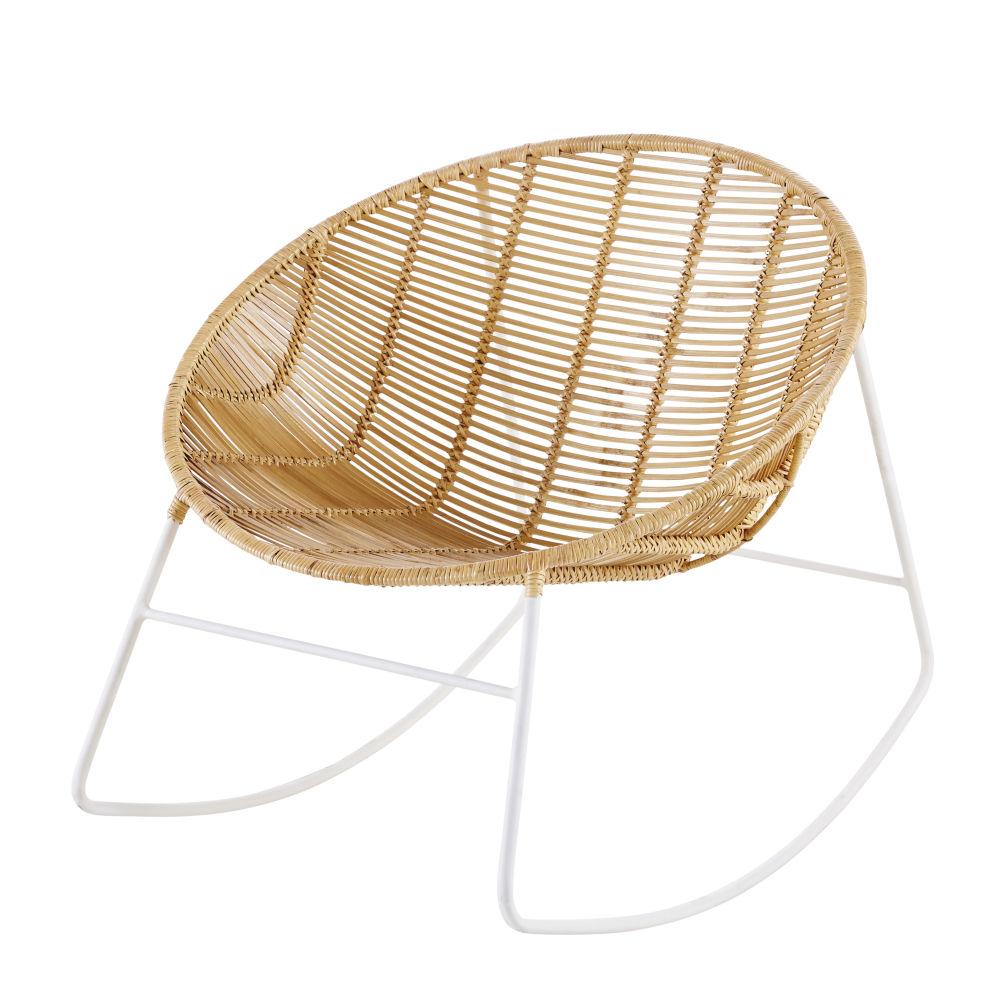 Sedia a dondolo rotonda in rattan e metallo bianco