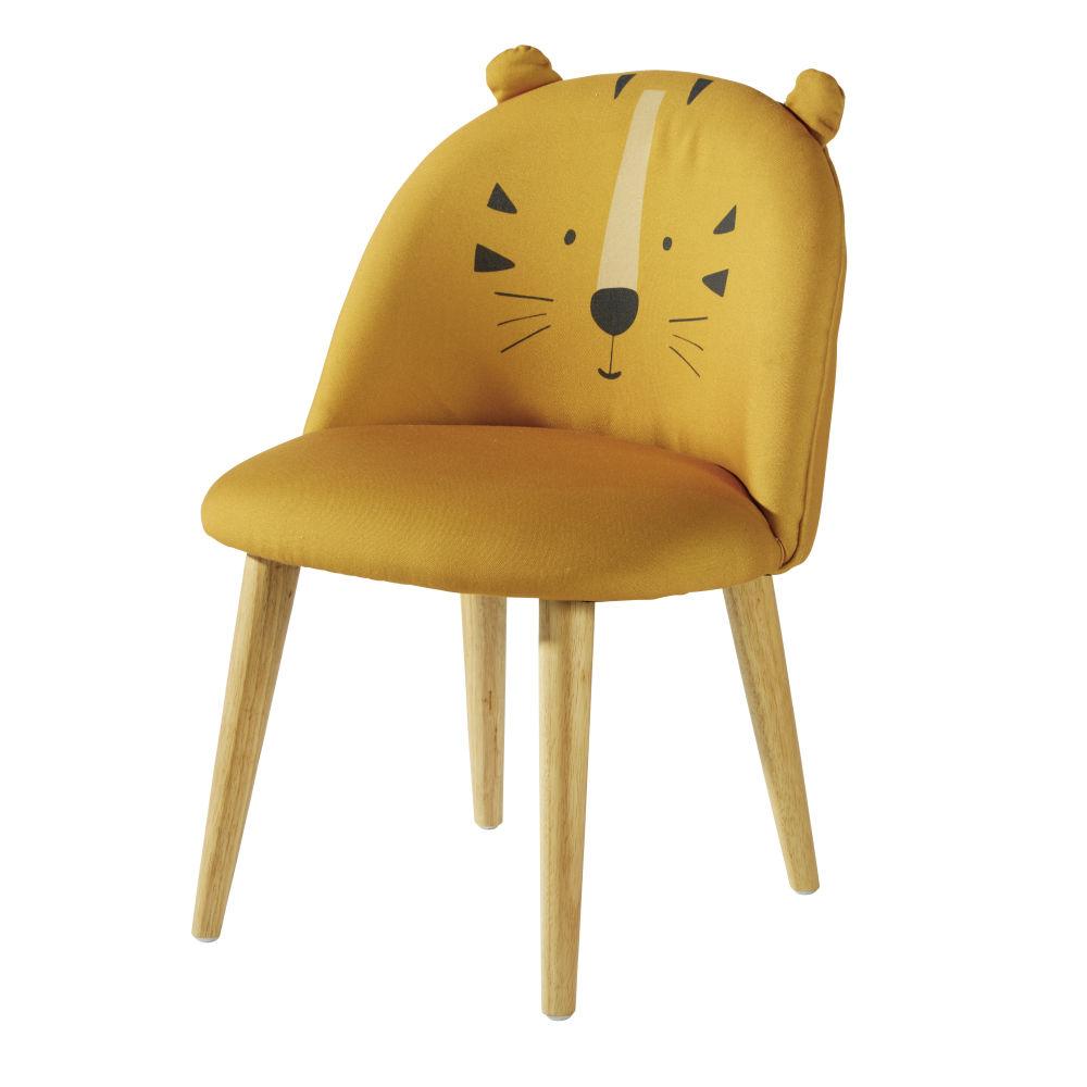 Sedia bambini giallo senape motivo testa di tigre massello di betulla