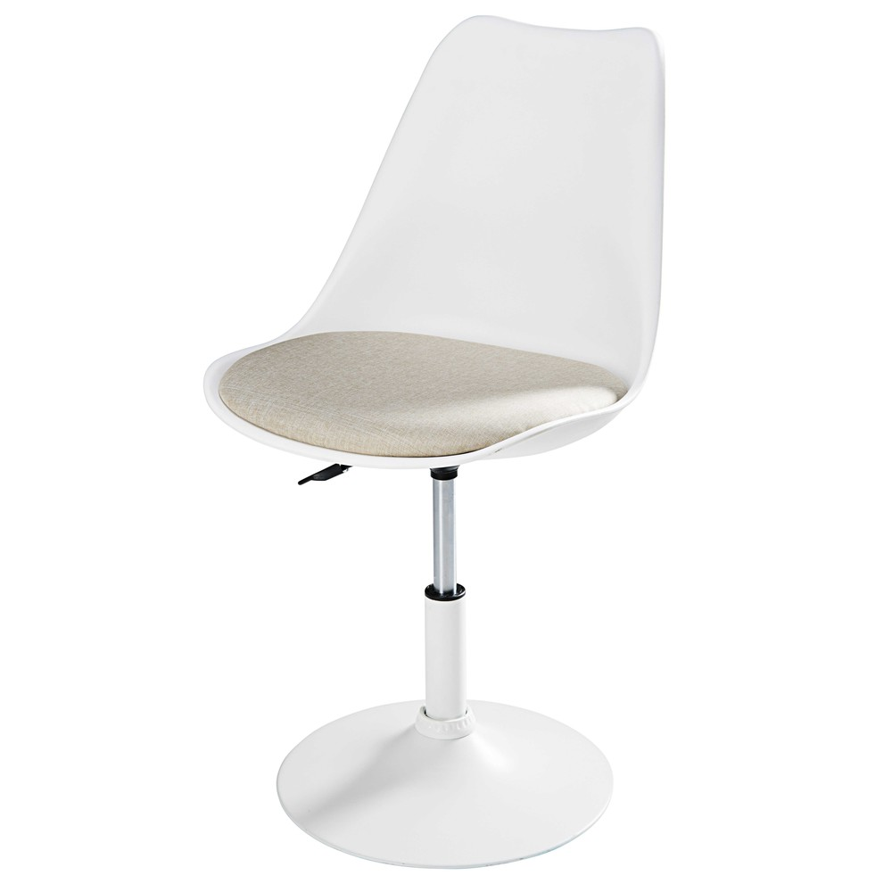 Sedia in metallo bianco opaco e tessuto beige