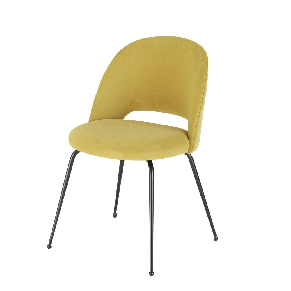 Sedia in velluto giallo e metallo nero