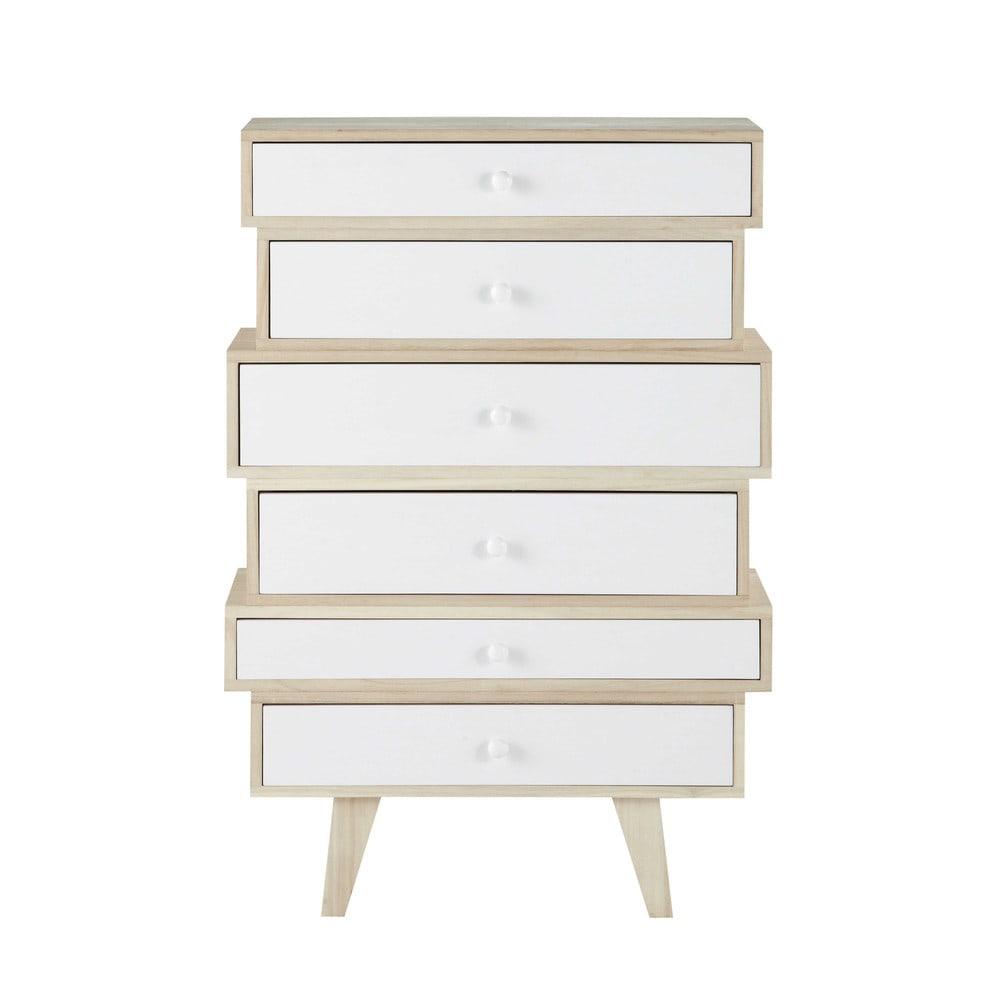 Semainier style scandinave 6 tiroirs en paulownia blanc
