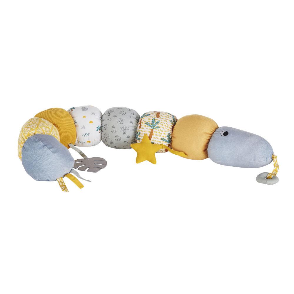 Serpent d'éveil bébé jaune moutarde, bleu et écru
