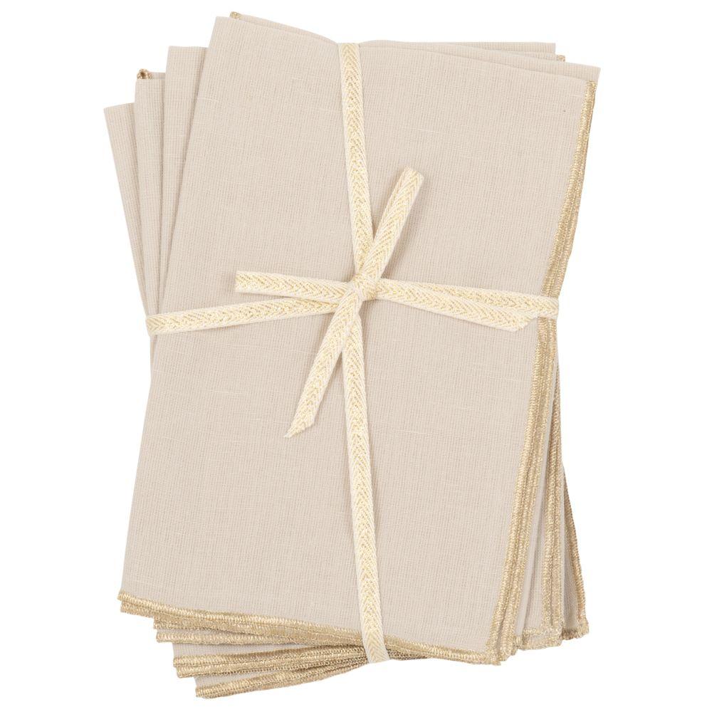Serviettes beiges et dorées (x4)