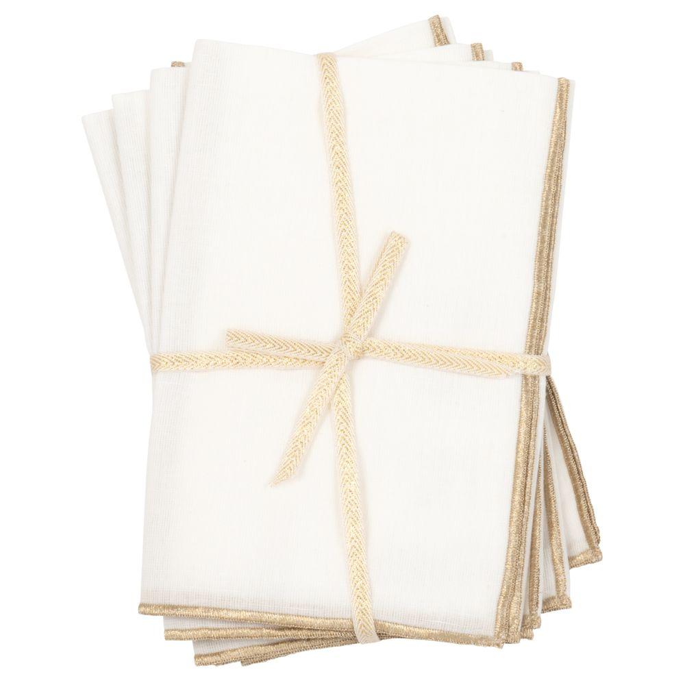 Serviettes blanches et doré mat (x4)