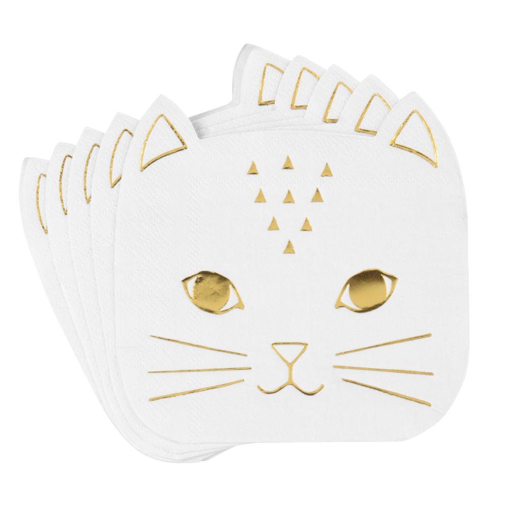 Serviettes chat en papier blanc et doré