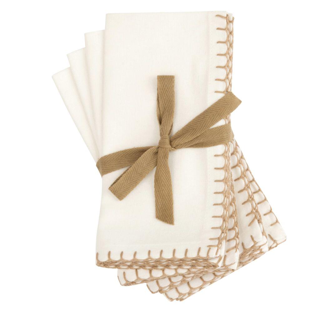 Serviettes en coton bio blanc 40x40 (x4)
