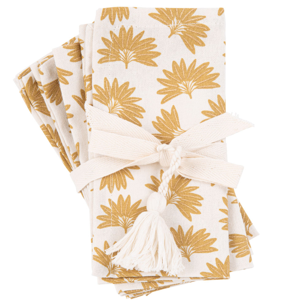 Serviettes en coton bio blanc imprimé jaune moutarde (x4)