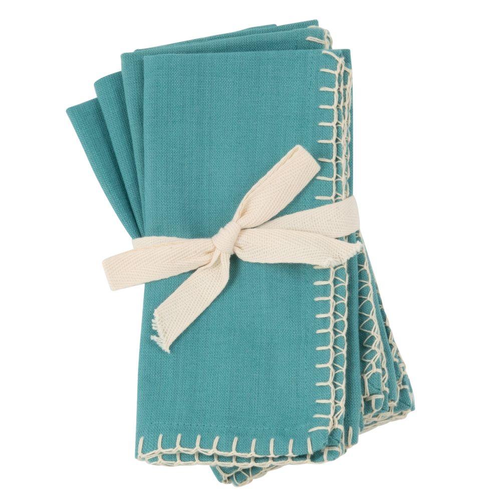 Serviettes en coton bio bleu clair 40x40 (x4)