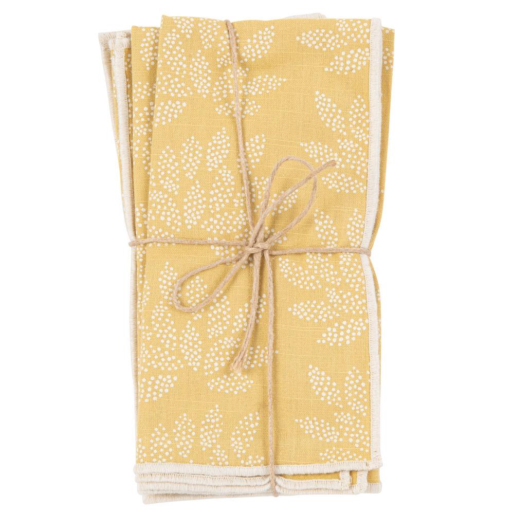 Serviettes en coton bio imprimé floral jaune et écru (x4)