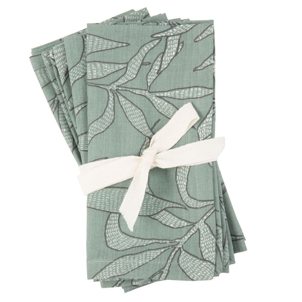Serviettes en coton bio imprimé vert et écru (x4)