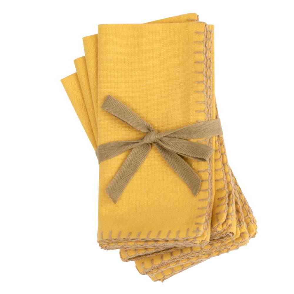 Serviettes en coton bio jaune 40x40 (x4)