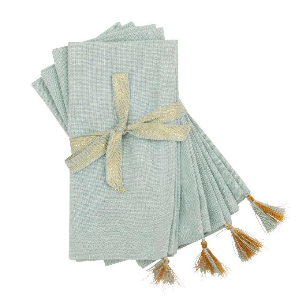 Serviettes en coton bleu clair et doré 40x40 (x4)