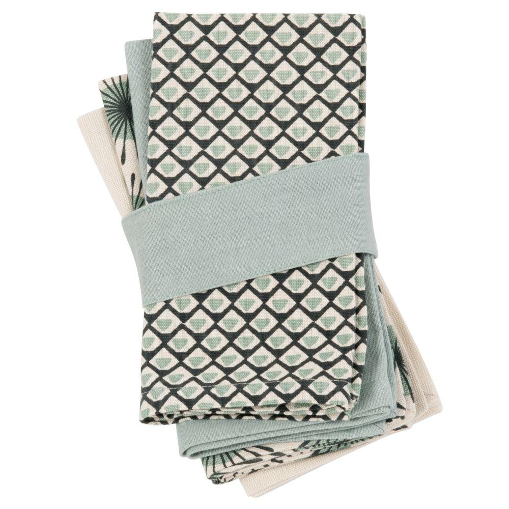 Serviettes en coton motifs à carreaux (x4)