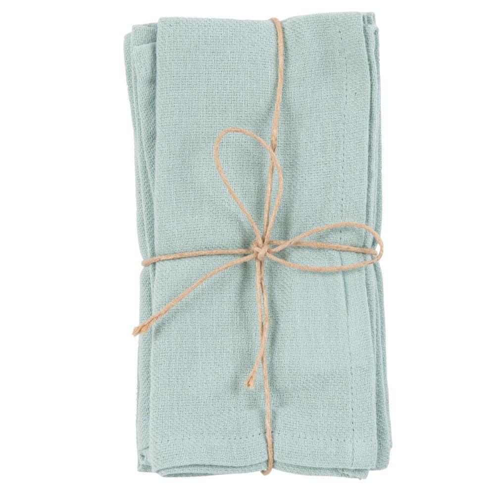 Serviettes en coton vert (x4)