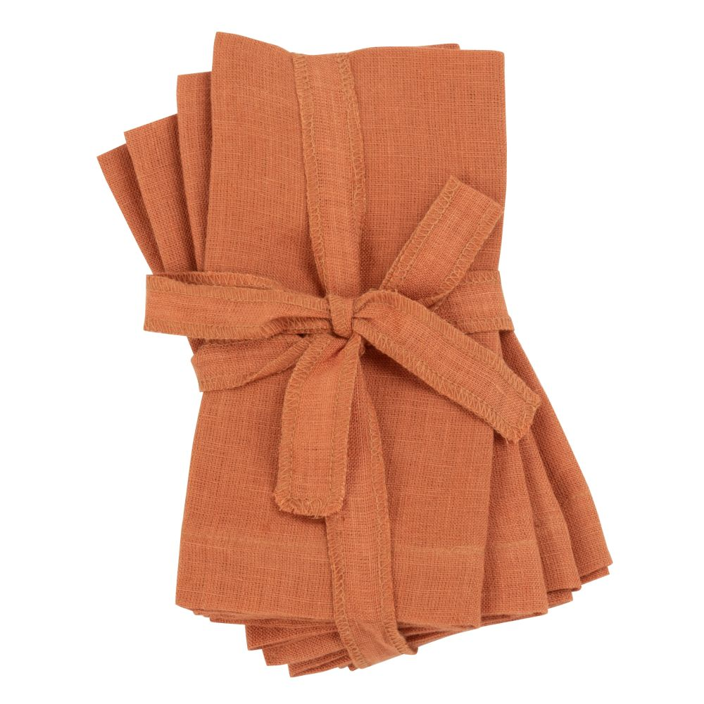 Serviettes en lin terracotta (x4)