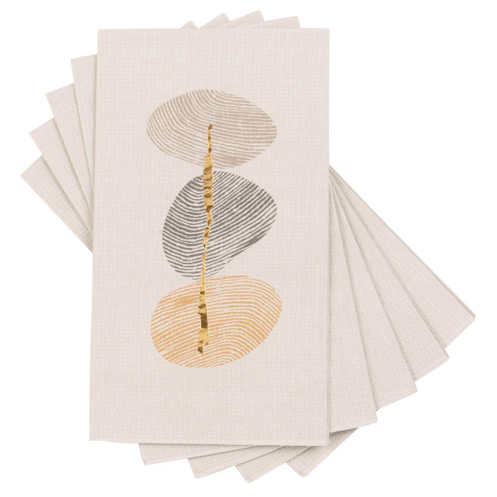 Serviettes en papier beige imprimé empreintes digitales multicolores (x12)
