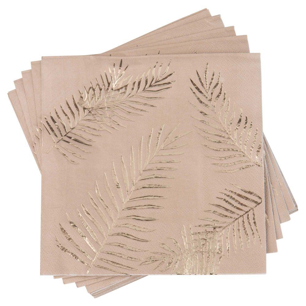 Serviettes en papier imprimé feuilles dorées