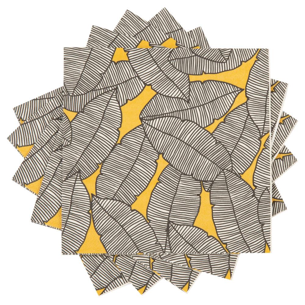 Serviettes en papier imprimé feuilles (x20)