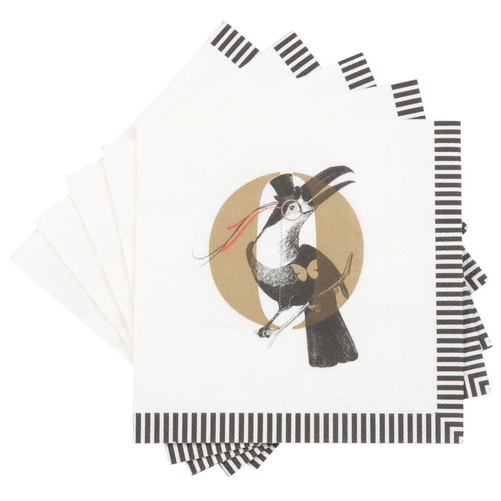 Serviettes en papier imprimé oiseau (x20)