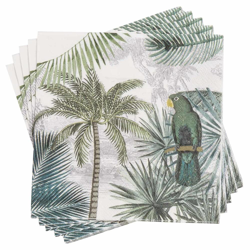 Serviettes en papier imprimé tropical 33x33 (x20)