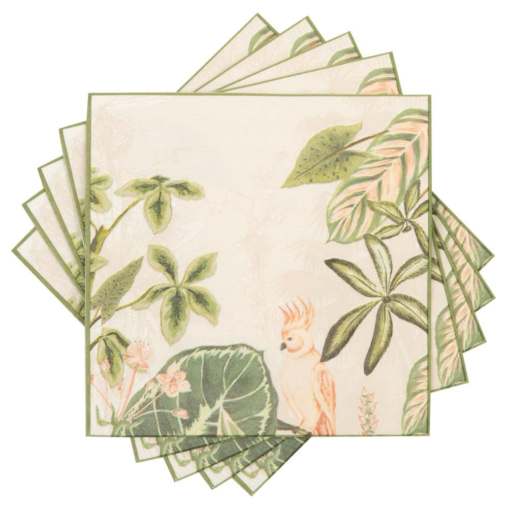 Serviettes en papier imprimé tropical rose et vert (x20)