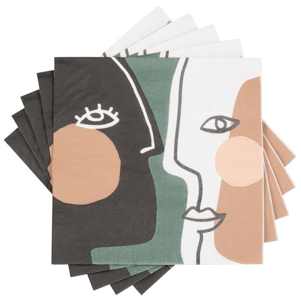 Serviettes en papier imprimé visages multicolores (x20)