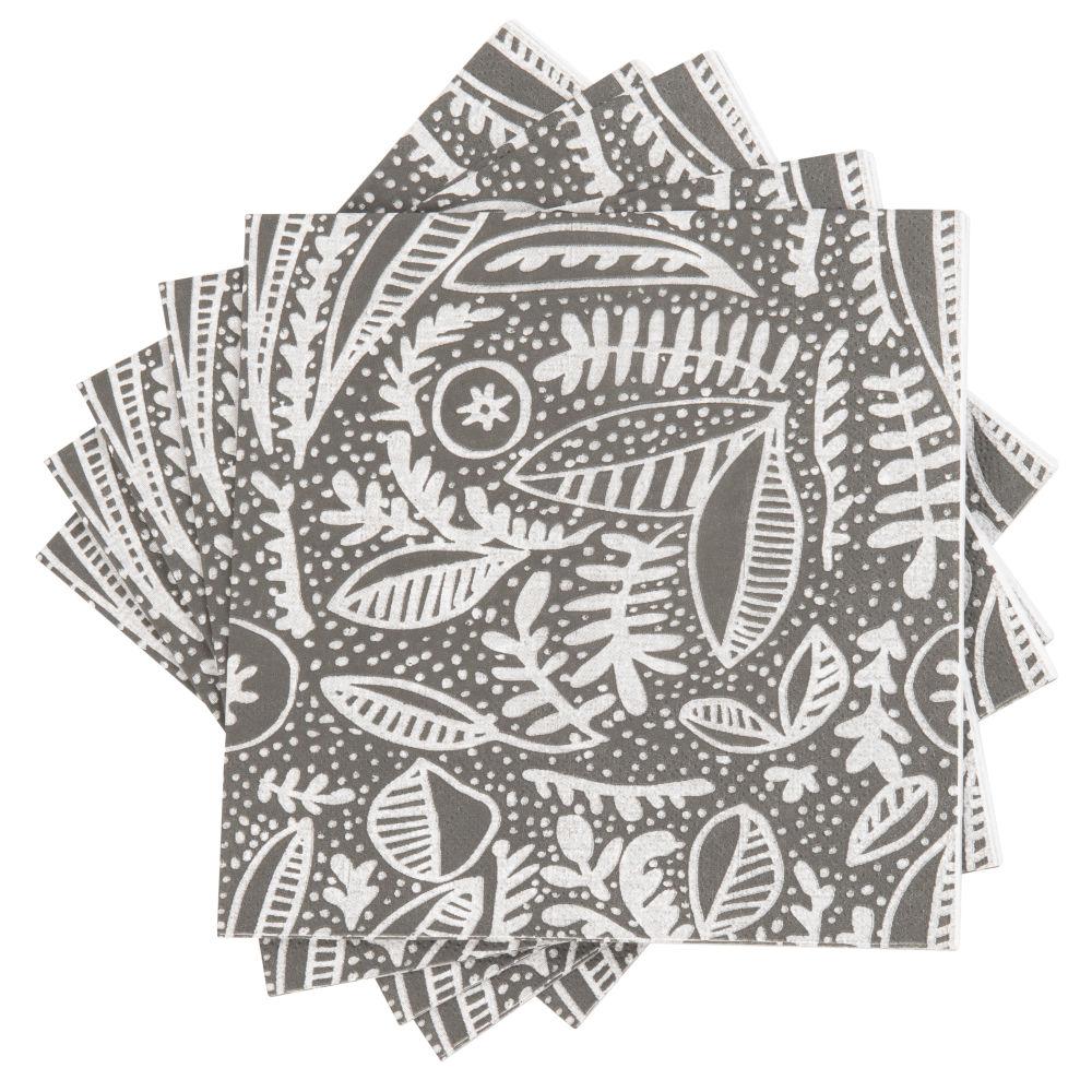 Serviettes en papier motif végétal écru et noir (x20)