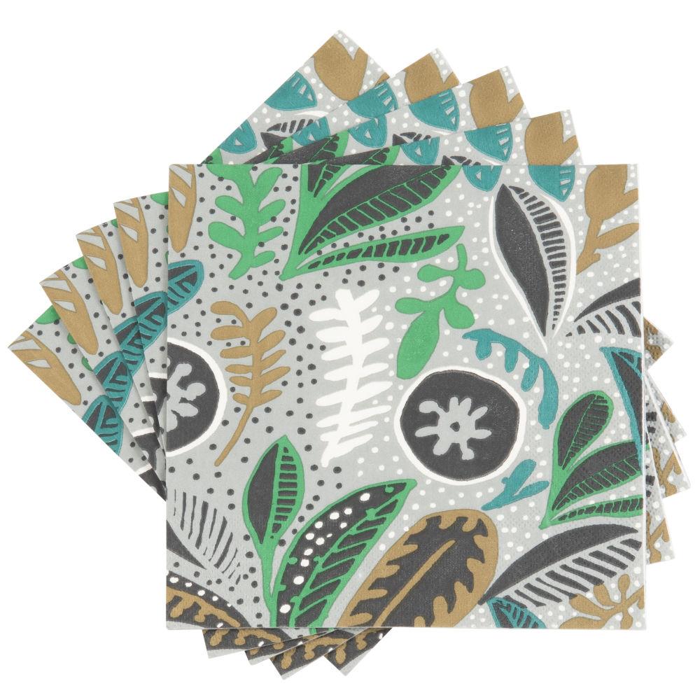 Serviettes en papier motif végétal vert, noir, blanc et marron (x20)
