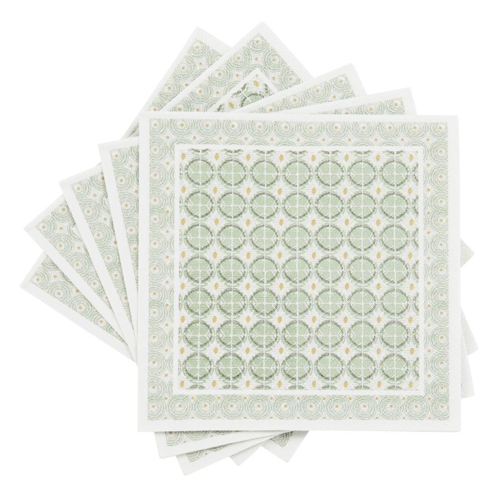 Serviettes en papier motifs carreaux de ciment verts et écrus (x20)