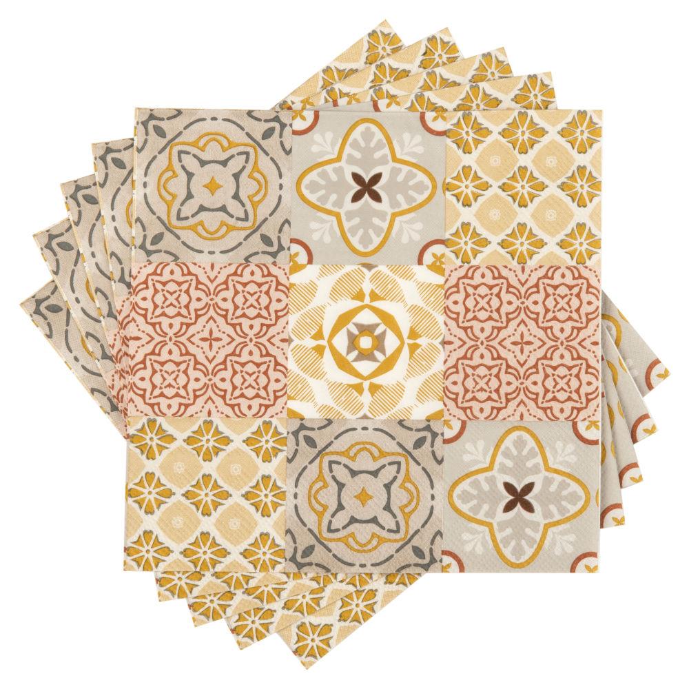 Serviettes en papier motifs carreaux de ciment (x20)
