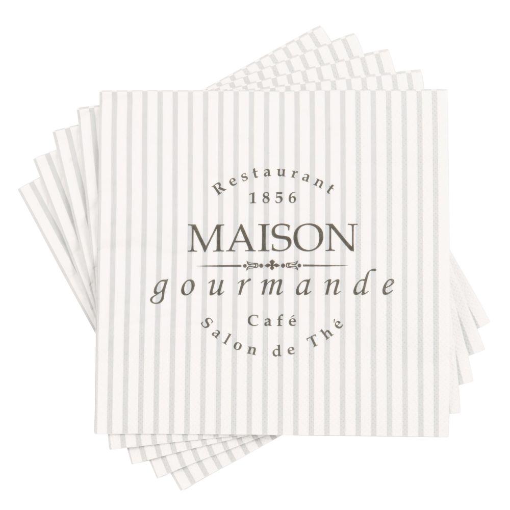 Serviettes en papier motifs graphiques bleu gris et blancs (x20)