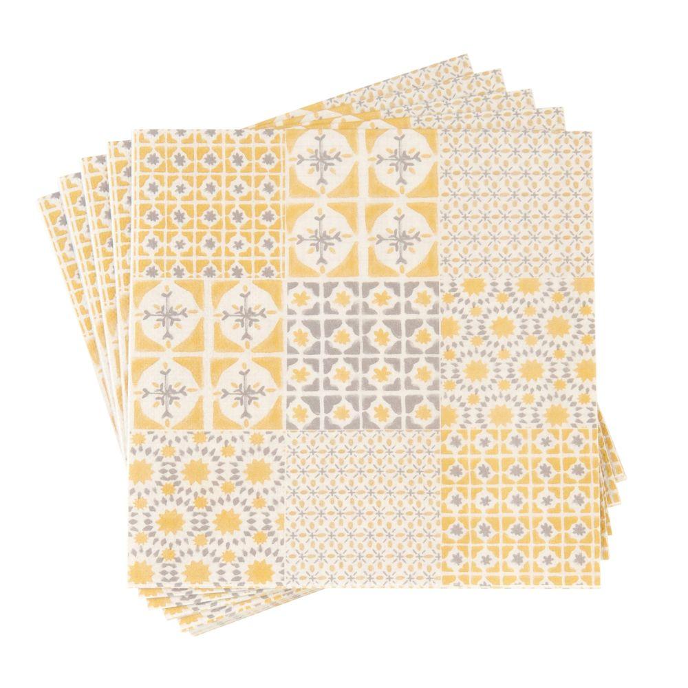 Serviettes en papier motifs graphiques gris et jaunes
