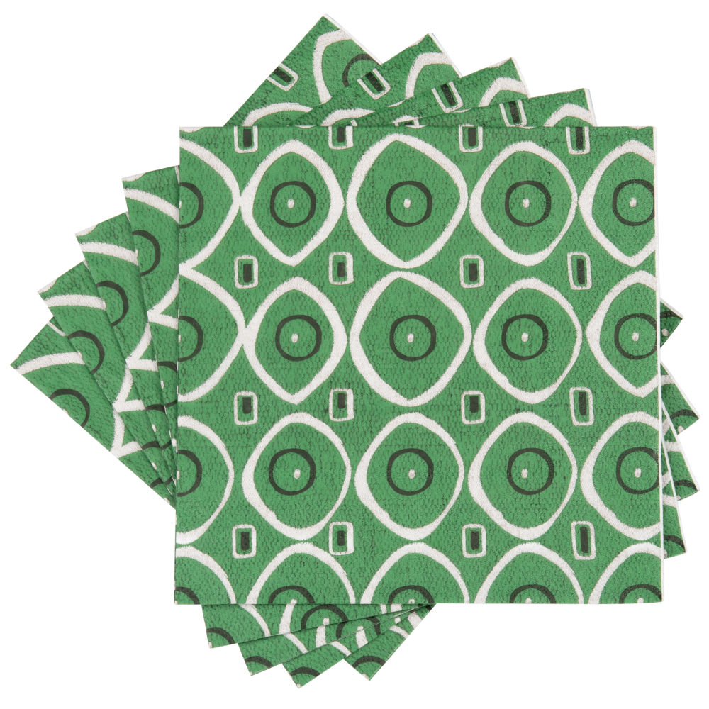 Serviettes en papier motifs graphiques verts, écrus et noirs (x20)