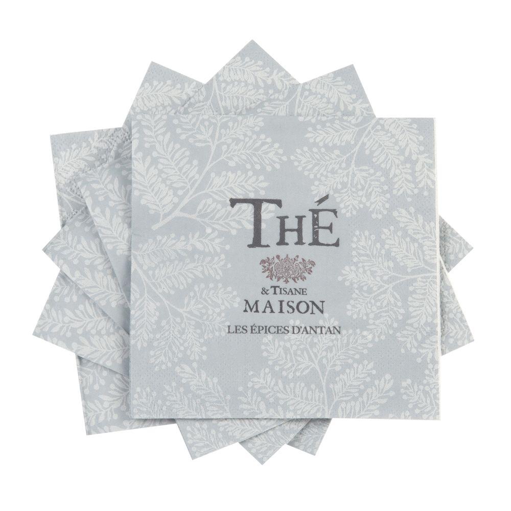 Serviettes en papier recyclé gris imprimé (x20)