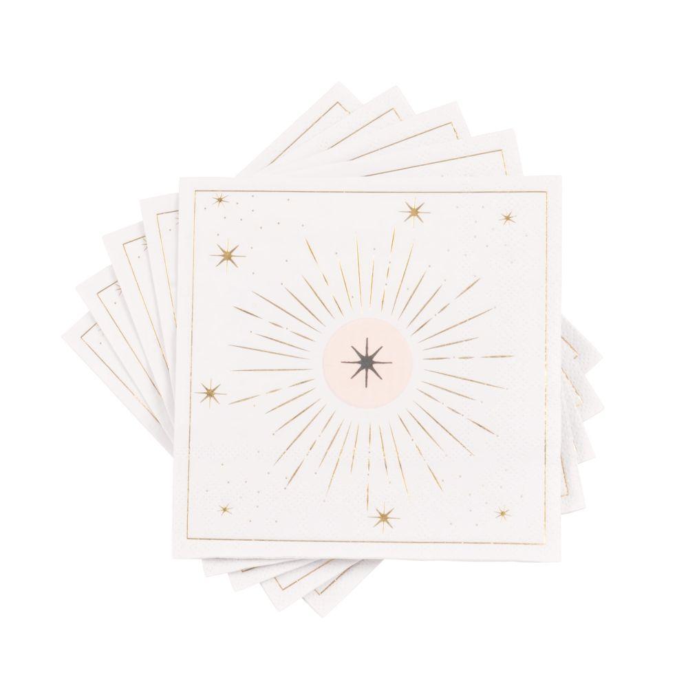 Serviettes en papier rose, noir, beige et doré (x20)