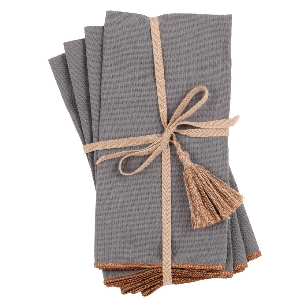 Serviettes gris anthracite et coloris bronze (x4)