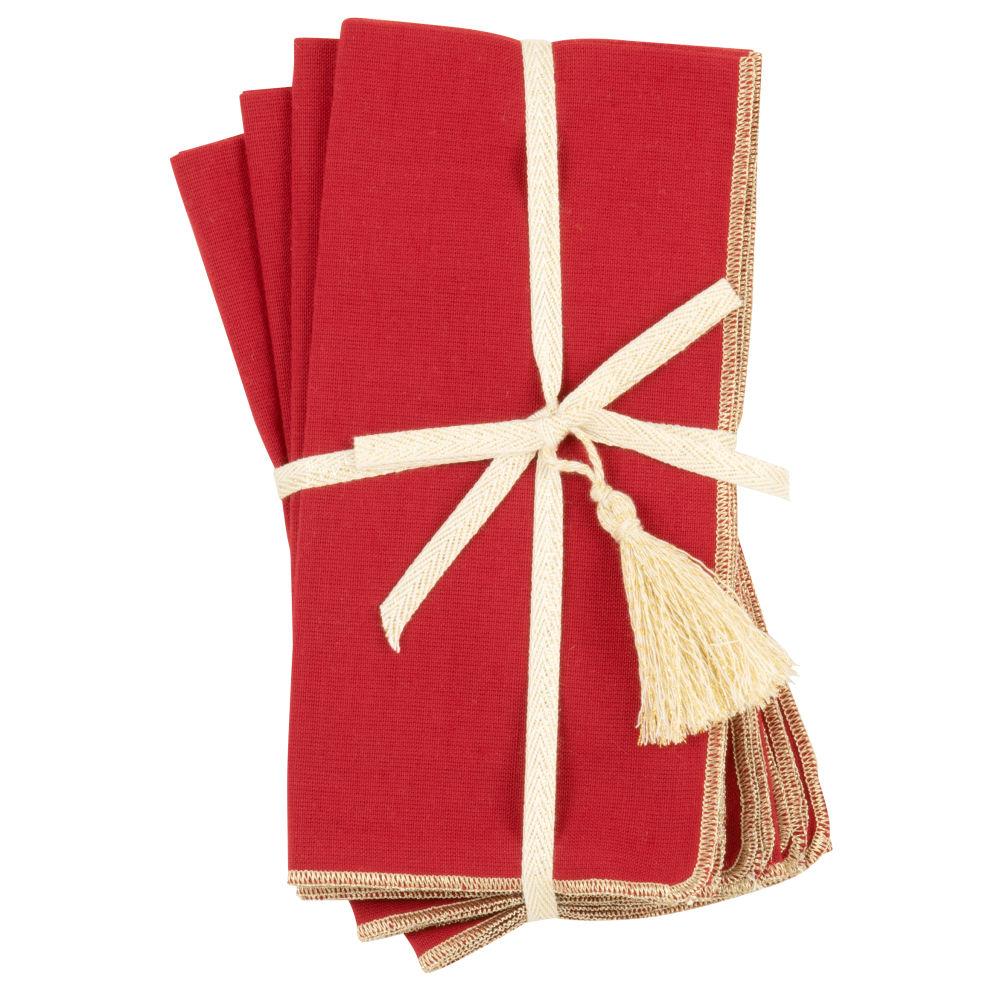 Serviettes rouges et dorées (x4)